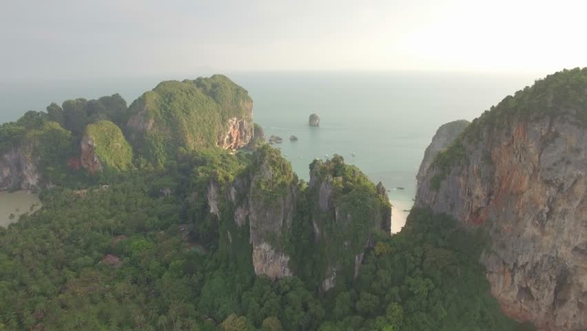 Flying over Krabi islands, Railay Beach