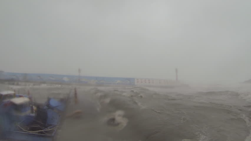 Tsunami Like Hurricane Storm Surge Destroys Boat. Storm surge from category 5 typhoon wrecking havoc in a small fishing harbor. HD on GoPro Hero 3 Black edition ProTune 1920x1080 30p Usagi II