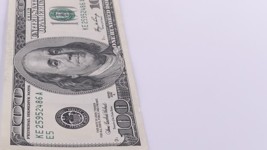 American currency on a white background