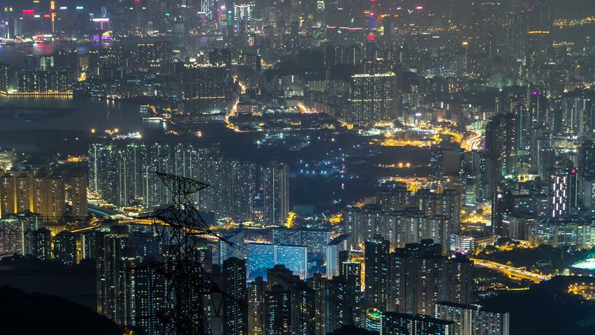 Fei ngo shan Kowloon Peak night timelapse Hong Kong cityscape skyline. | Shutterstock HD Video #15069721