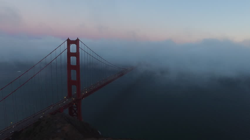 Golden Gate Bridge in evening fog, San Fransisco, California, aerial shot
