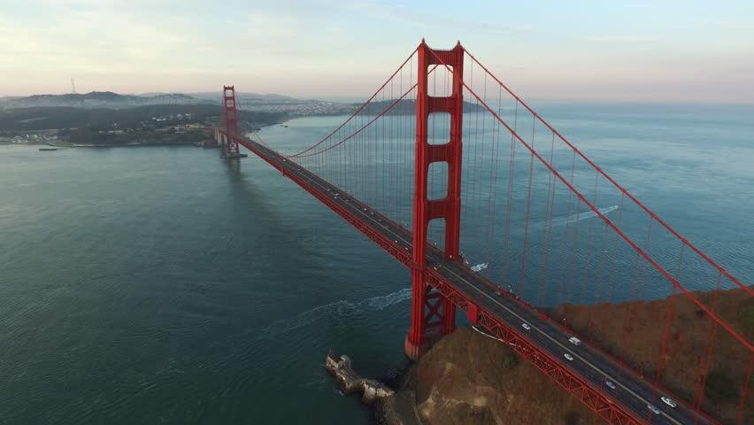 Golden Gate Bridge in San Fransisco, California, aerial shot
