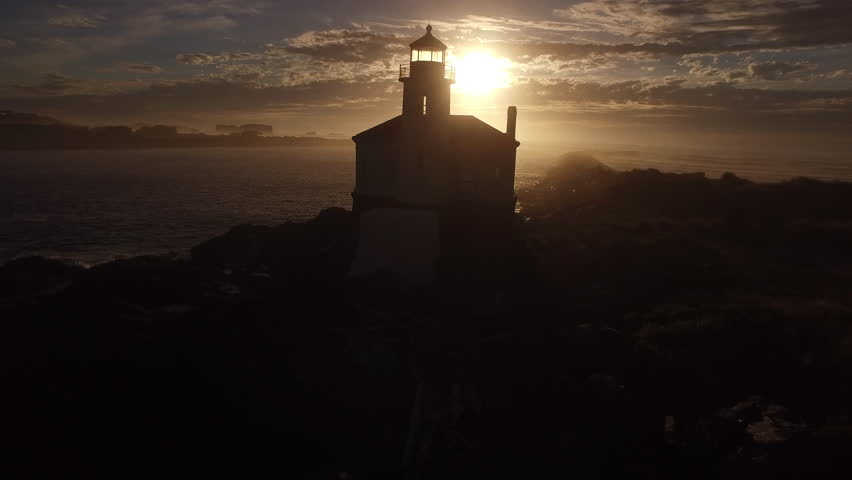Aerial view of Coquille River Lighthouse in Bandon, Oregon