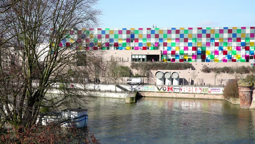 An Hyper-lapse vue of the Museum of Modern Art in Strasbourg, France, around march 2016.