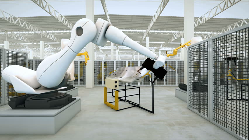 Industrial Robot arm active in factory. Automation welding mechanical procedure  | Shutterstock HD Video #15151900