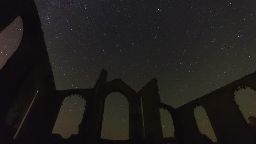 Star Trails Church Ruins - Moving Stars Timelapse - 4K stock video clip