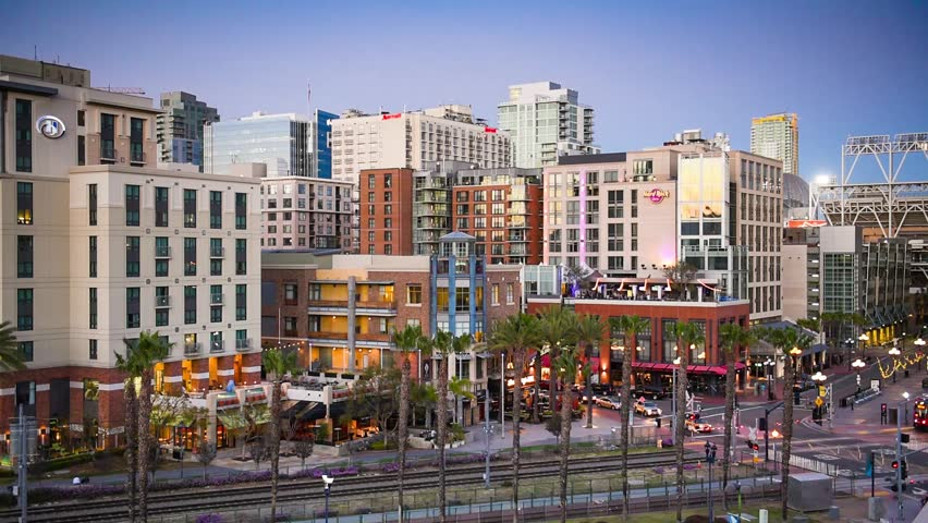 SAN DIEGO, CALIFORNIA - FEBRUARY 26, 2016: Gaslamp Quarter of San Diego. The area serves as the main nightlife district of the city.