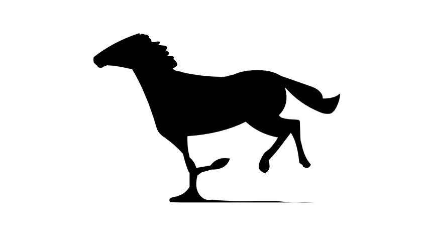 Running horse silhouette ( Seamless Loop )
