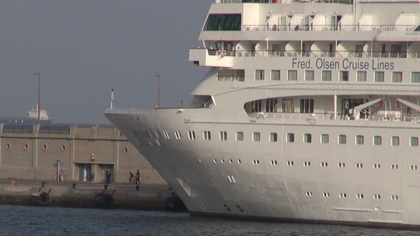 TENERIFE , CANARY ISLANDS, SPAIN  November 2015 - White Cruise ships in harbor    - HD stock video clip
