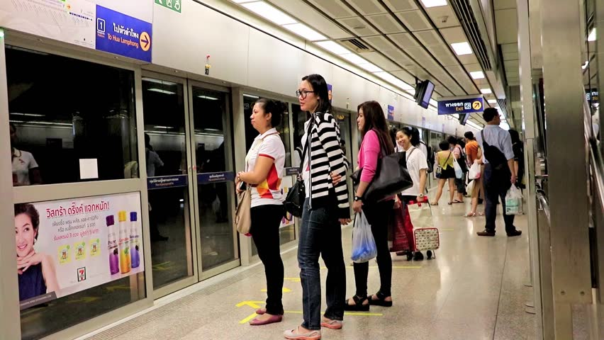 THAILAND, BANGKOK, 24 OCT 2015, arrival subway train on station in Bangkok - HD stock footage clip