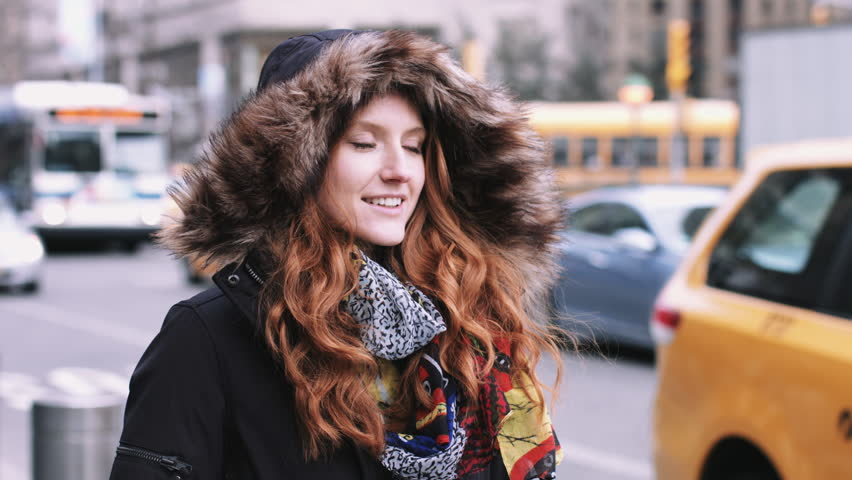 Portrait of Young adult woman on street in New York