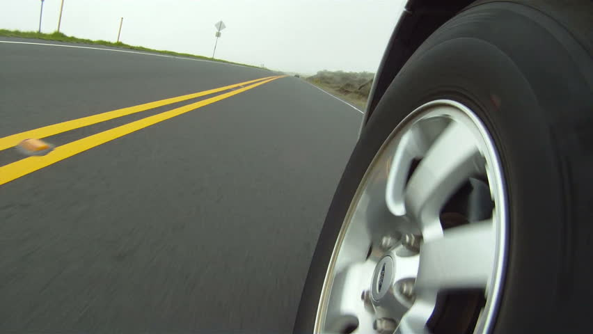 car mounted camera on tire and road Dutch tilt