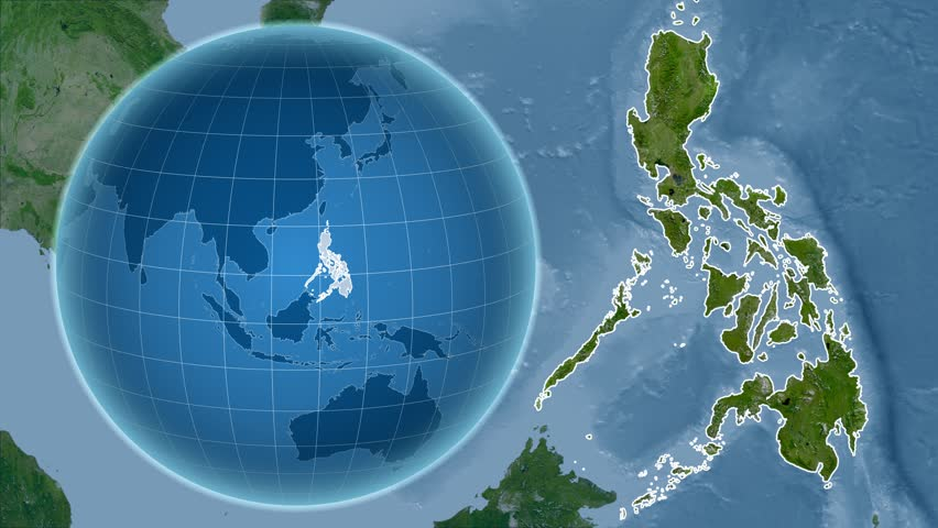 Philippines shape animated on the satellite map of the globe