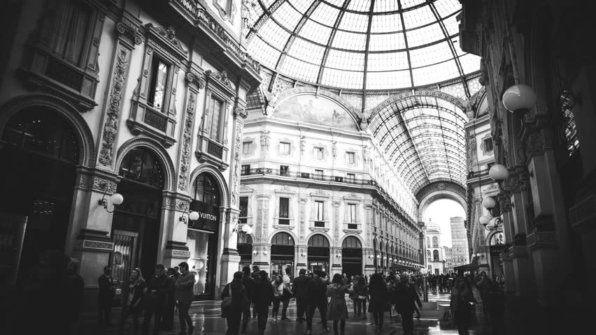 People Shopping in Galleria Vittorio Emanuele II Milan time lapse 21/03/2016 4k uhd ultrahd black and white | Shutterstock HD Video #15459430
