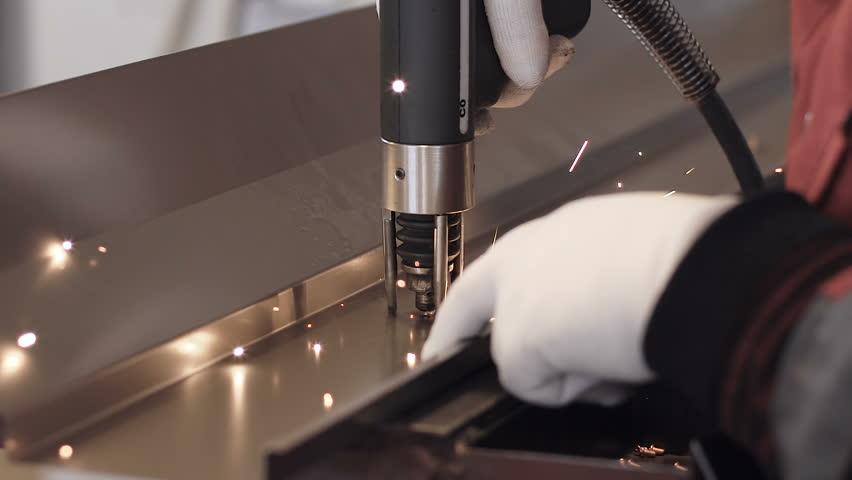 Spot welding machine Industrial automotive part in factory - HD stock footage clip