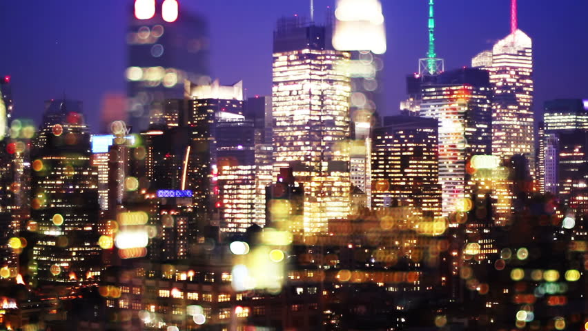 View of manhattan skyline from a high vantage point, made into abstract lights | Shutterstock HD Video #1563484