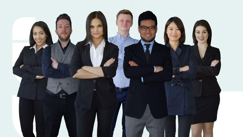 Diverse group of young business people standing together as a team. mixed multi ethnic professionals portrait. financial sales company background  | Shutterstock HD Video #15647710