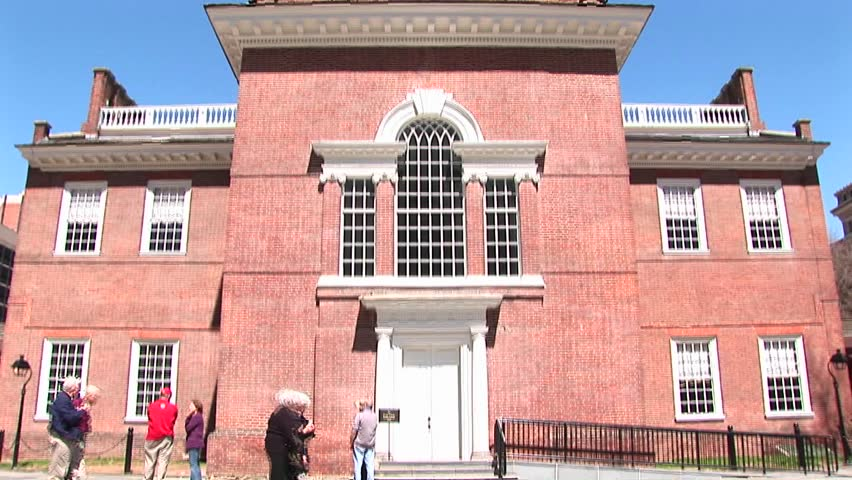 The camera pans up the historic Independence Hall in Philadelphia.