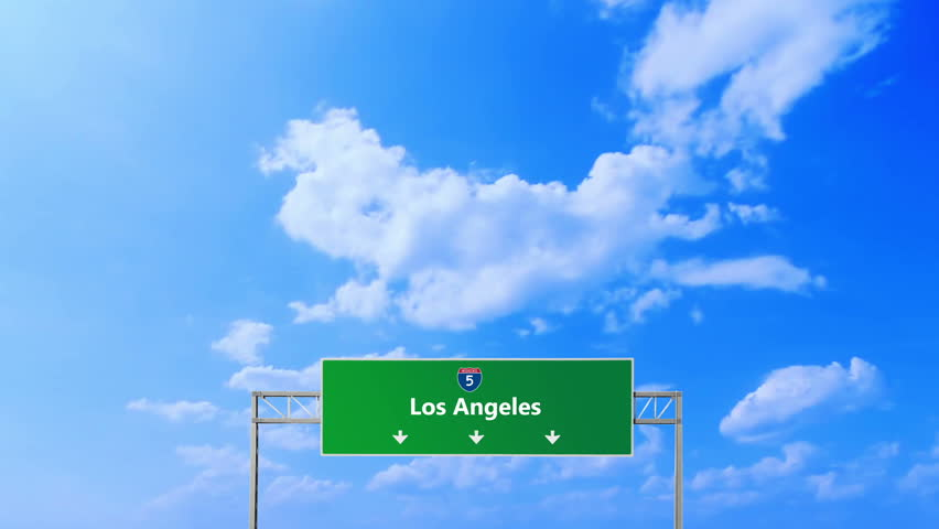 Los Angeles road sign and symbols. Under the transition the way in Los Angeles. Custom design work. With special effects designed and illuminated project.  | Shutterstock HD Video #15704851