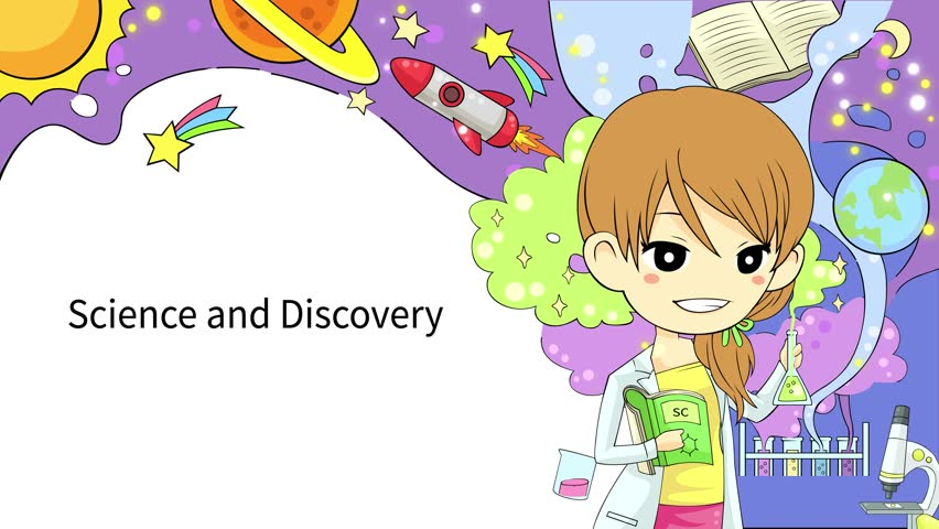 cartoon animation of a girl student is reading education