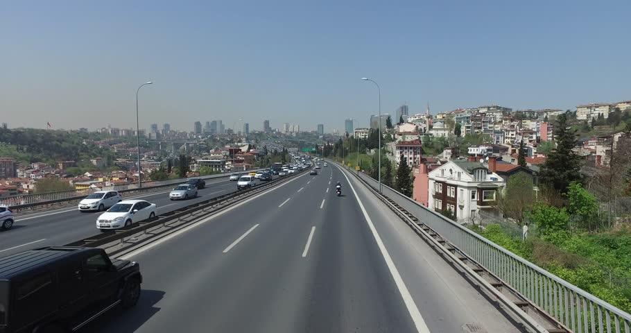ISTANBUL, TURKEY - 7 APRIL 2016: Bosphorus Bridge in Istanbul, the Sultan Mehmed: April 7, 2016 in Istanbul, Turkey - 4K stock footage clip