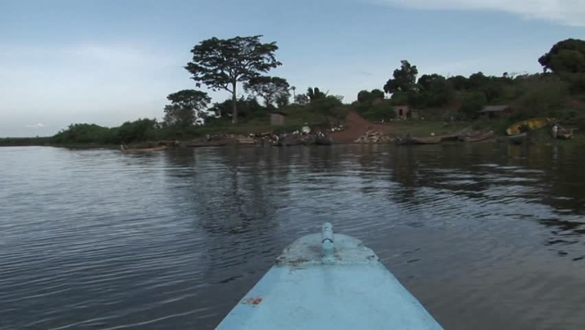 POV of a fishing boat during departure from Ugandan shore in Lake Victoria - HD stock footage clip