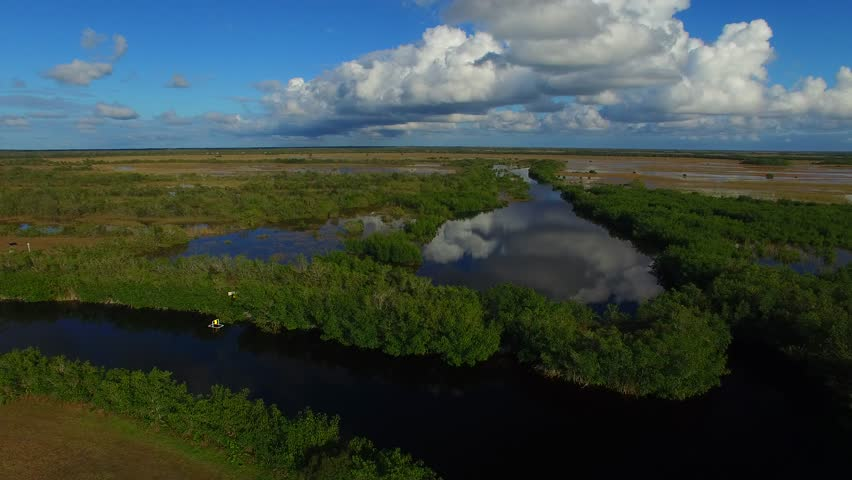 Panoramic aerial view of Everglades swamp with water reflections. | Shutterstock HD Video #15801934