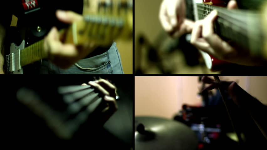 Guitar, Guitar Bass and Drums - Multiscreen - HD stock video clip