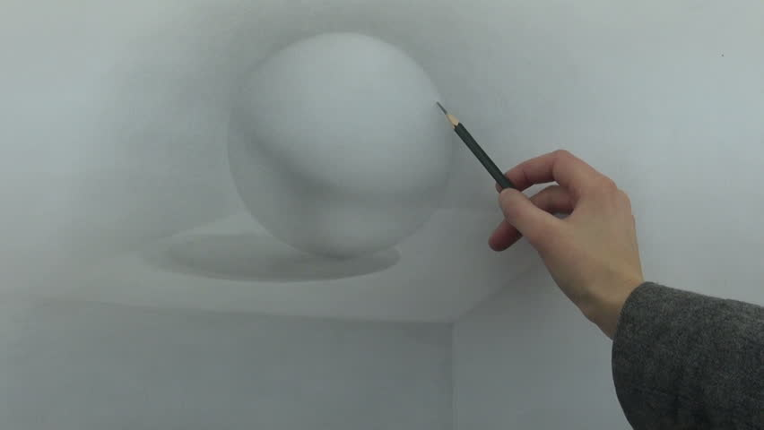 Academic sphere drawing with graphite pencil - HD stock footage clip