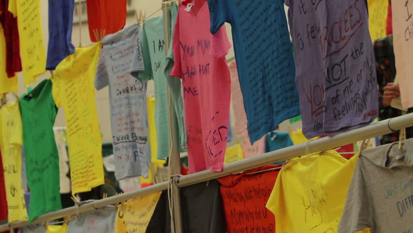 OREM, UT- NOV 2: Clothesline Project at Utah Valley University Nov, 2 2011 in Orem, Utah. Abuse victims wrote stories on shirts describing violence, rape, drugs, murder, incest to be displayed in the public exhibition.