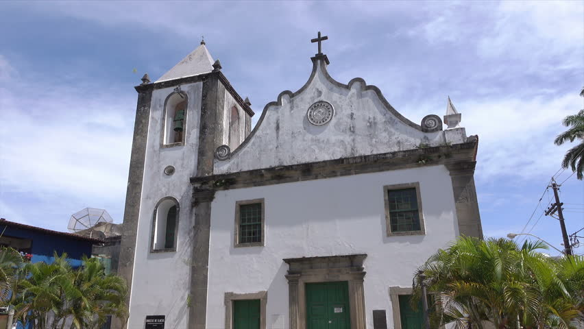 ILHEUS, BAHIA/BRAZIL - FEBRUARY 19, 2016: Sao Jorge church, traditional architecture of Ilheus. Ilheus was founded in1534and the church built 1572. - HD stock footage clip