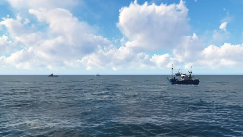 Fishing boat silhouette crossing frame in the daytime. 3D animation. Ships sailing in the sea during the day #15855187