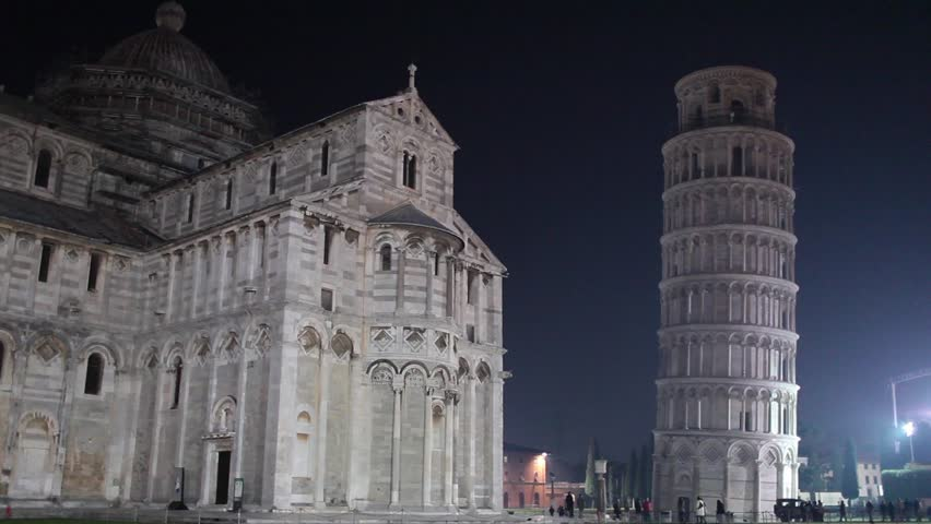 Video clip of the Square of Miracles with the Leaning Tower in Pisa by night.