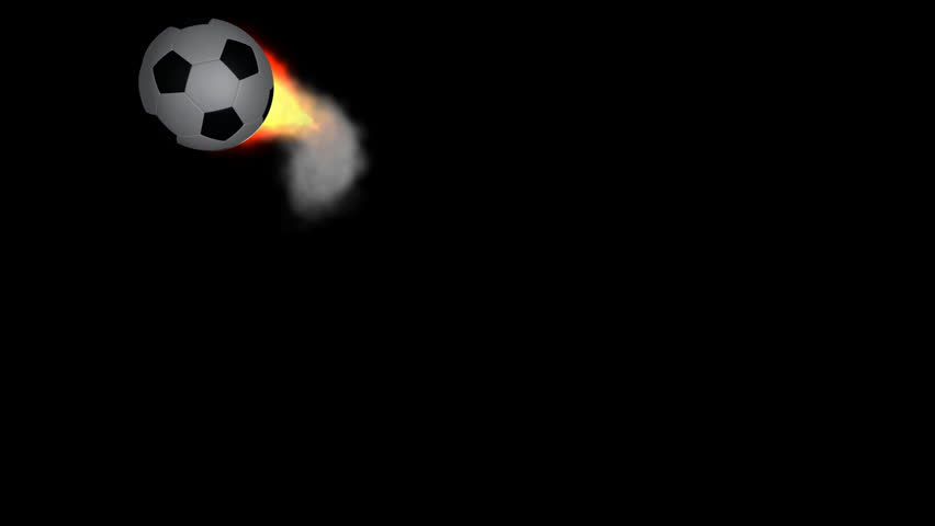 Soccer balls with fire and smoke trail against black,can be used as transition as well