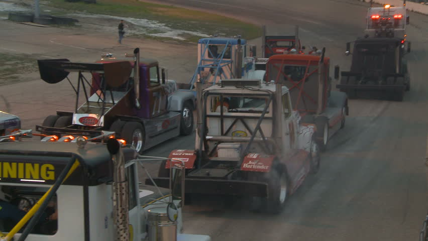 motor sports, Big rig race, pre-race show - HD stock video clip