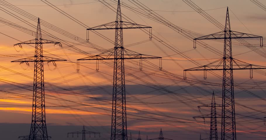 Electric power line at sunset 4k resolution