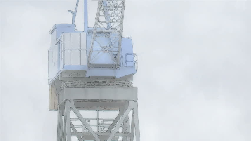Medium low angle rotoscoped animated motion time lapse hyperlapse shot of a vintage 1940s industrial shipping crane during a cloudy day.