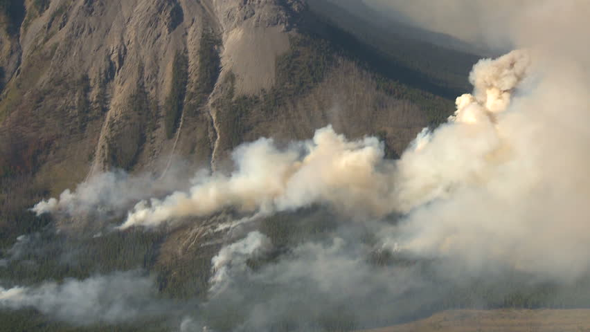 Forest fire heavy smoke aerial - HD stock video clip
