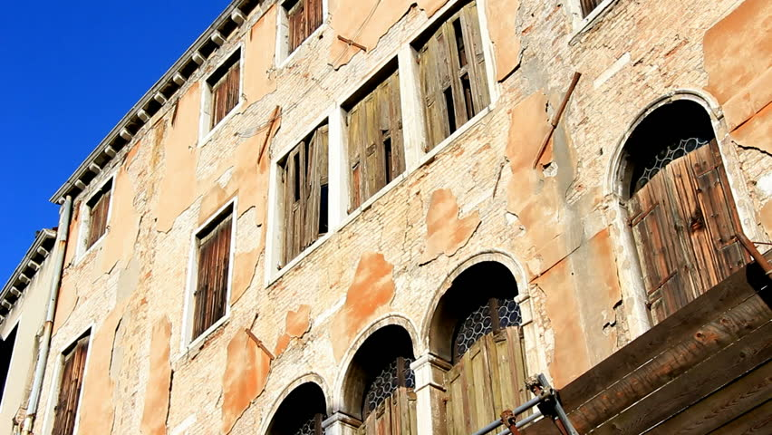 VENICE, ITALY. DECEMBER 03 2013, Exterior Of Venice Apartment Building - HD stock footage clip