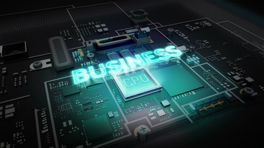 Hologram typo 'BUSINESS' on CPU chip circuit, grow artificial intelligence technology. | Shutterstock HD Video #15904408