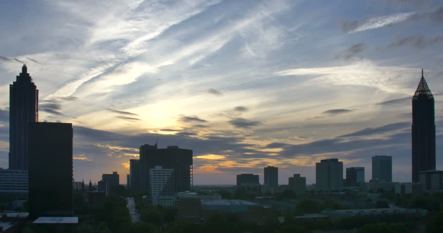 Atlanta Skyline Sun Set Time Lapse Contrail April 2016 - 4K stock video clip