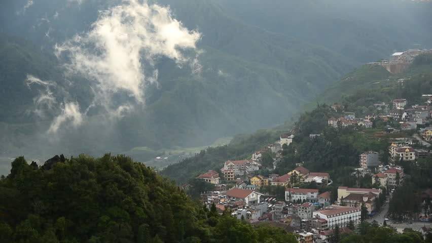 town of Sapa from view point from Hamrong Mt., Lao cai, Vietnam  - HD stock footage clip