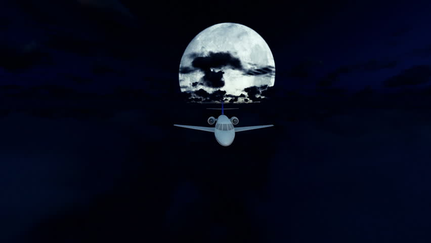 Cesna airplane cruising above clouds, full moon | Shutterstock HD Video #16009555