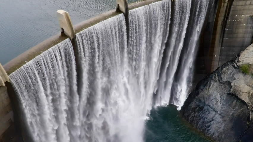 Dam and waterfalls on the American River in Northern California