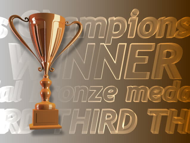 Winning bronze trophy animated background - SD stock footage clip