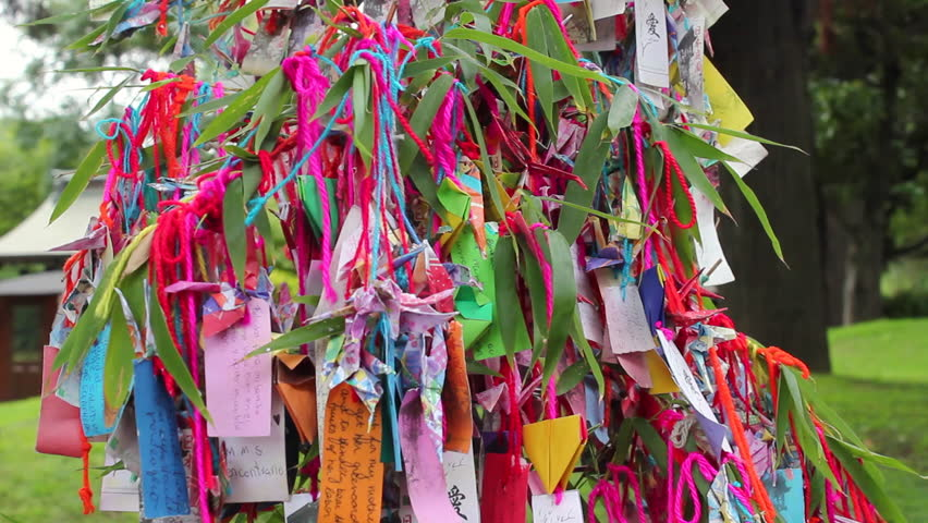 Japanese Garden, colorful strip of paper, temple. Wishes | Shutterstock HD Video #16077361
