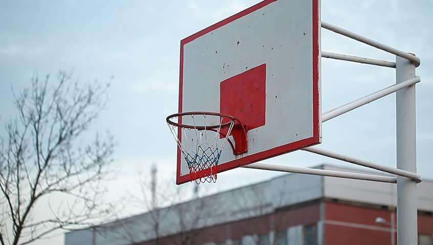 Video basketball backboard to the basket. street basketball - HD stock video clip