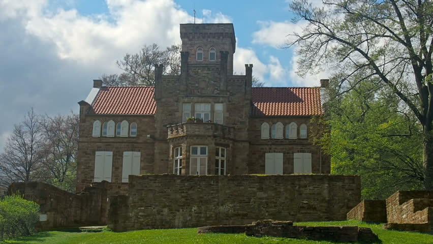 Restored building of a German castle.A resorted building of the Isenburg, hosting a museum.