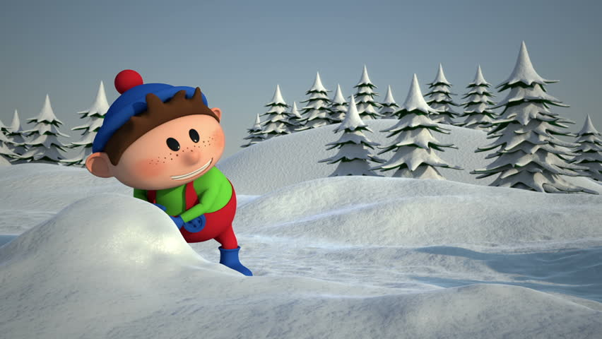 Cartoon Kids Snowball Fight - high quality 3d animation - loopable - HD stock footage clip