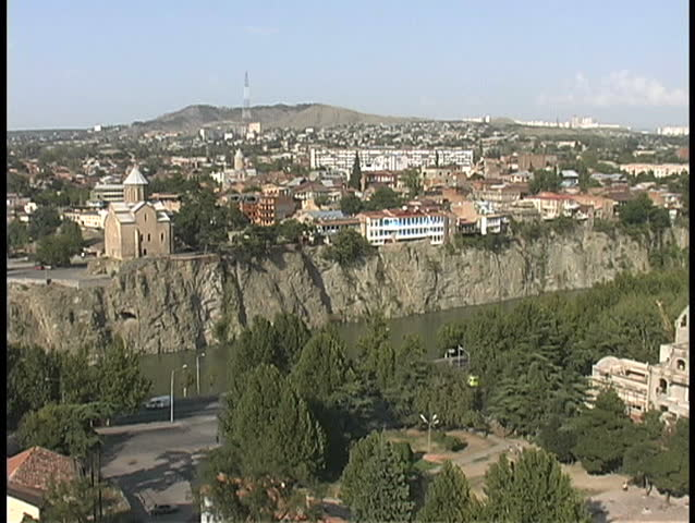 August - 2008 - Republic of Georgia - Tbilisi from Narikala Fortress - SD stock video clip